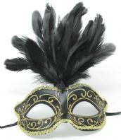 Black and Gold Mask with Feathers